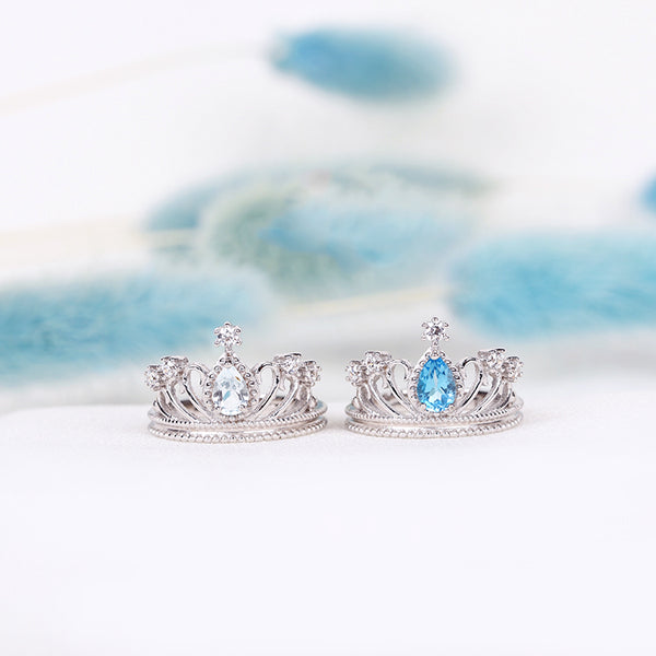 Topaz Crown Ring Gold Silver Engage proposal Ring November Birthstone Women