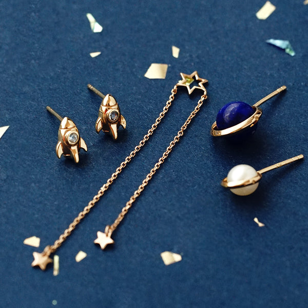 Topaz Lapis Lazuli Pearl Stud Drop Earrings Gold silver Jewelry Women adorable