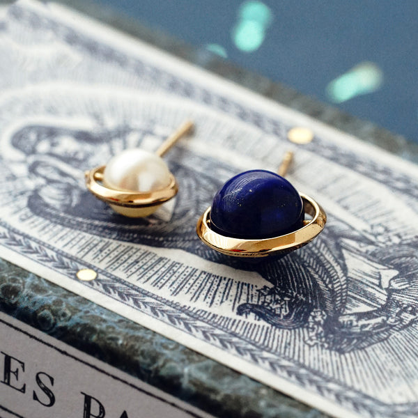 Topaz Lapis Lazuli Pearl Stud Drop Earrings Gold silver Jewelry Women beautiful