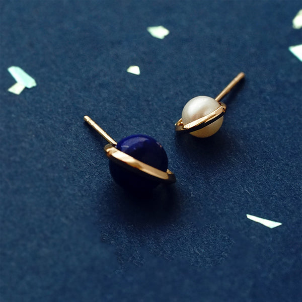 Topaz Lapis Lazuli Pearl Stud Drop Earrings Gold silver Jewelry Women cool