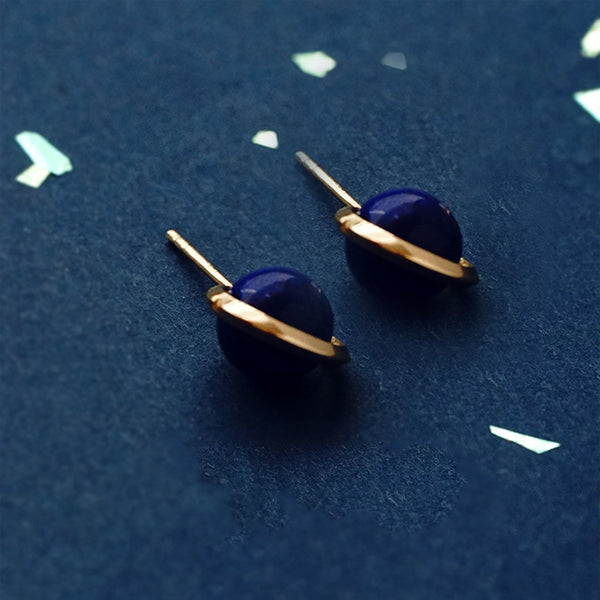Topaz Lapis Lazuli Pearl Stud Drop Earrings Gold silver Jewelry Women fashionable