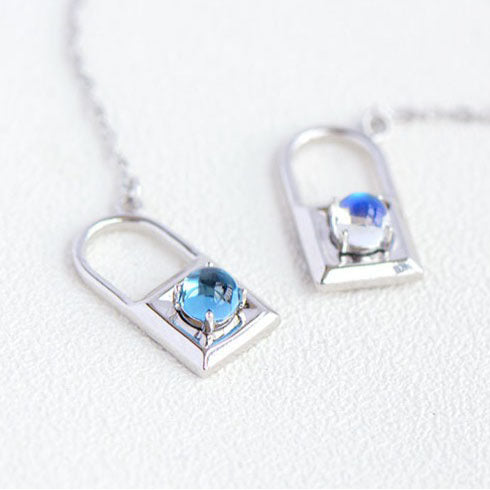 Topaz Moonstone Double Mosaic Pendant Necklace Silver Jewelry Accessories Gifts Women adorable