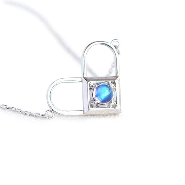 Topaz Moonstone Double Mosaic Pendant Necklace Silver Jewelry Accessories Gifts Women blue