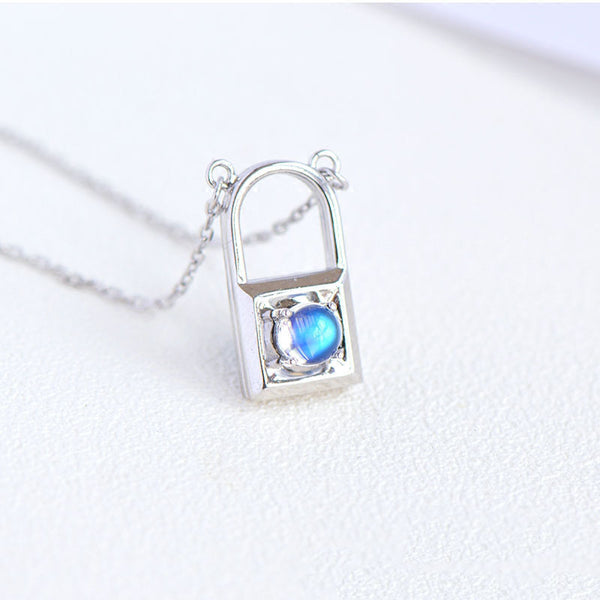 Topaz Moonstone Double Mosaic Pendant Necklace Silver Jewelry Accessories Gifts Women cute