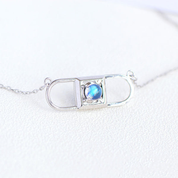 Topaz Moonstone Double Mosaic Pendant Necklace Silver Jewelry Accessories Gifts Women june birthstone