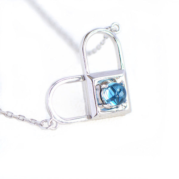 Topaz Moonstone Double Mosaic Pendant Necklace Silver Jewelry Accessories Gifts Women