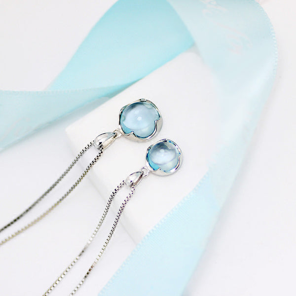 Topaz Pendant Necklace Silver Jewelry Accessories Gift Women blue