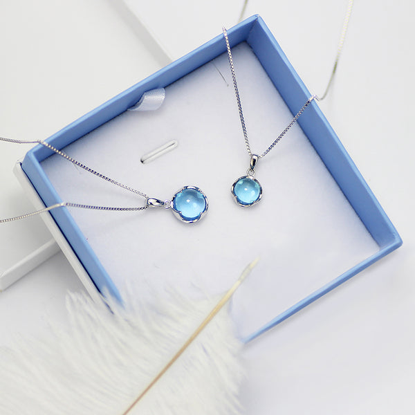 Blue Topaz Pendant Necklace in Sterling Silver Jewelry Accessories Gift For Women