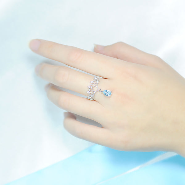 Topaz Ring Gold Silver Engage proposal Ring November Birthstone Women beautiful