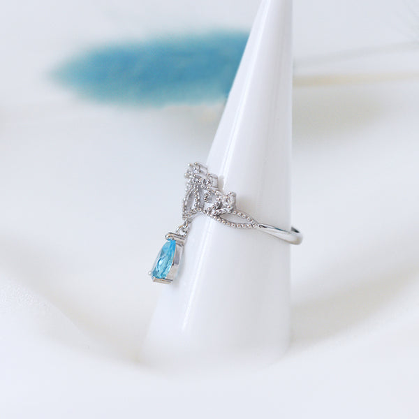 Topaz Ring Gold Silver Engage proposal Ring November Birthstone Women lovers gift