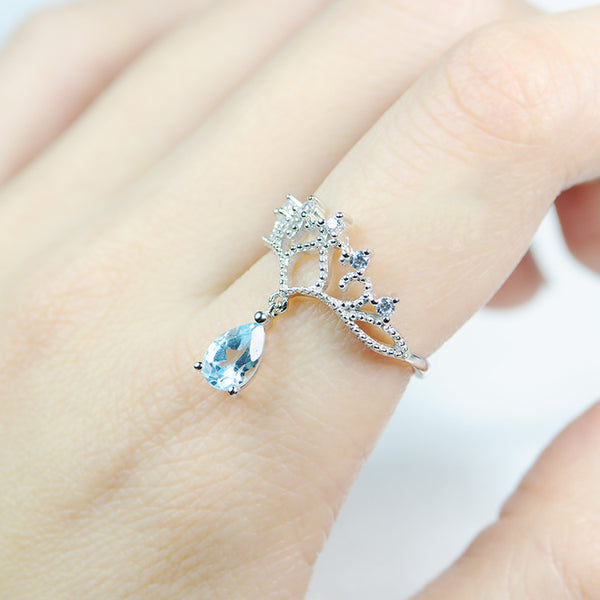 Topaz Ring Gold Silver Engage proposal Ring November Birthstone Women wear