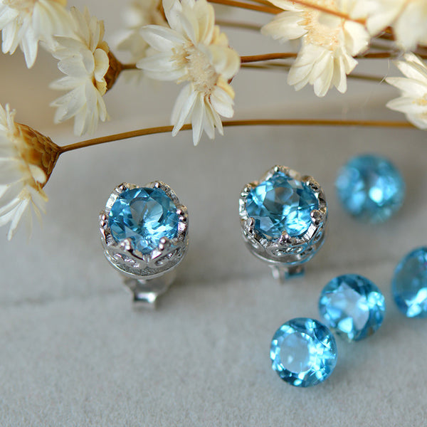 Topaz Stud Earrings Silver November Birthstone Handmade Jewelry women blue