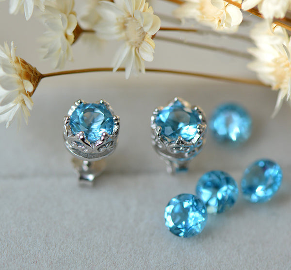 Topaz Stud Earrings Silver November Birthstone Handmade Jewelry women gemstone