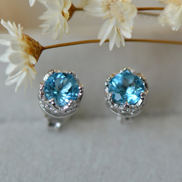 Topaz Stud Earrings Silver November Birthstone Handmade Jewelry women gift