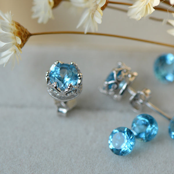 Topaz Stud Earrings Silver November Birthstone Handmade Jewelry women natural