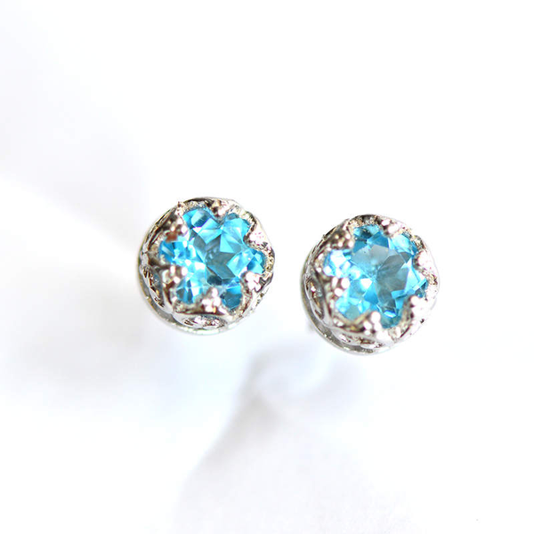 Topaz Stud Earrings Silver November Birthstone Handmade Jewelry women