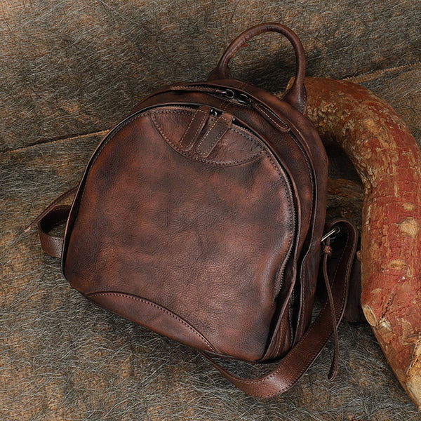 Trendy Ladies Genuine Leather Backpack Purse Book Bag Purse for Women Brown