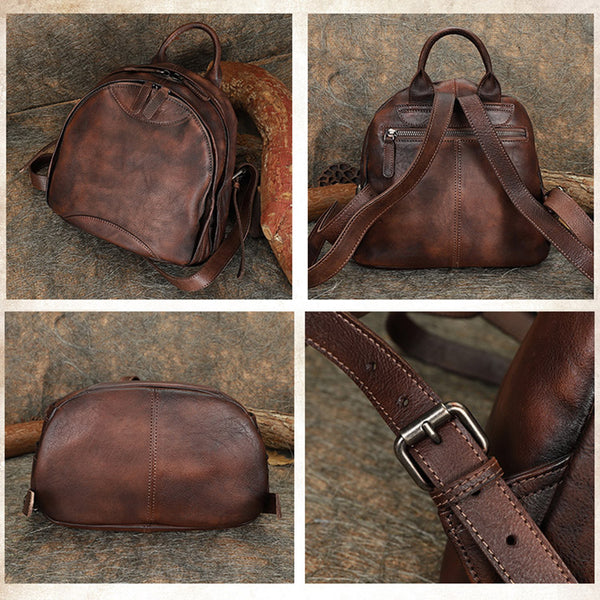 Trendy Ladies Genuine Leather Backpack Purse Book Bag Purse for Women Handmade