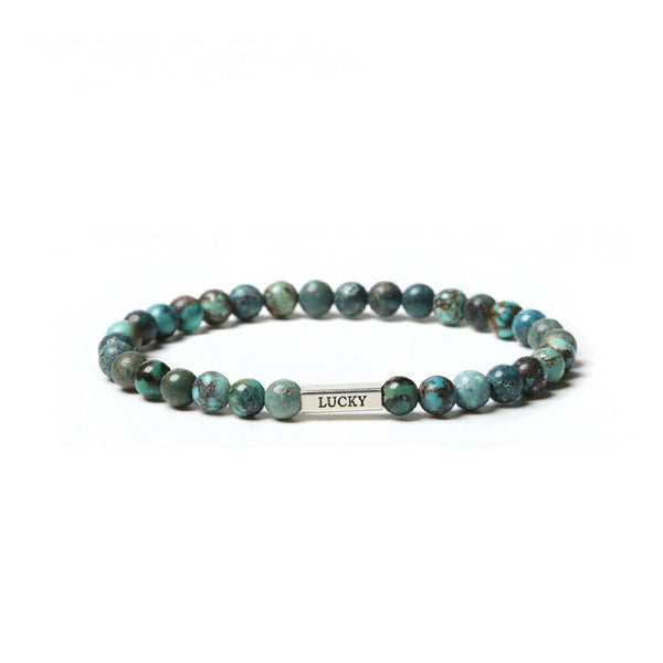 Turquoise Bead Silver Bracelet Handmade Gemstone Jewelry Accessories Women Men Men gift