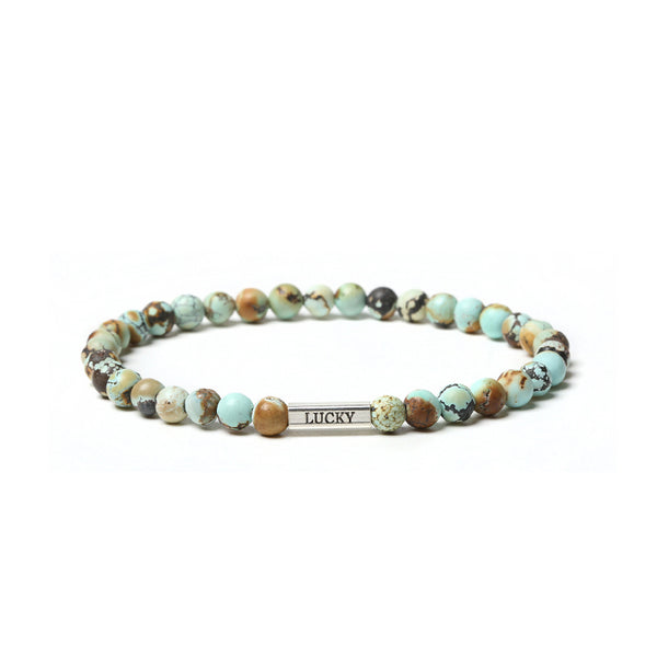 Turquoise Bead Silver Bracelet Handmade Gemstone Jewelry Accessories Women Men