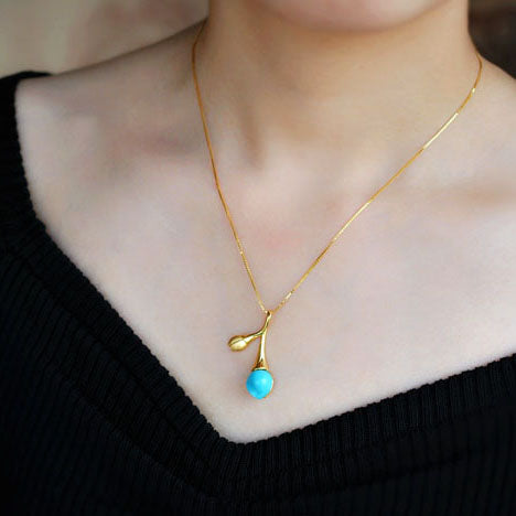 Turquoise Pendant Necklace Gold Silver Gemstone Jewelry Accessories Women charming