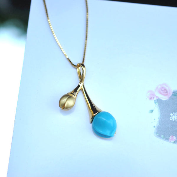 Turquoise Pendant Necklace Gold Silver Gemstone Jewelry Accessories Women cute