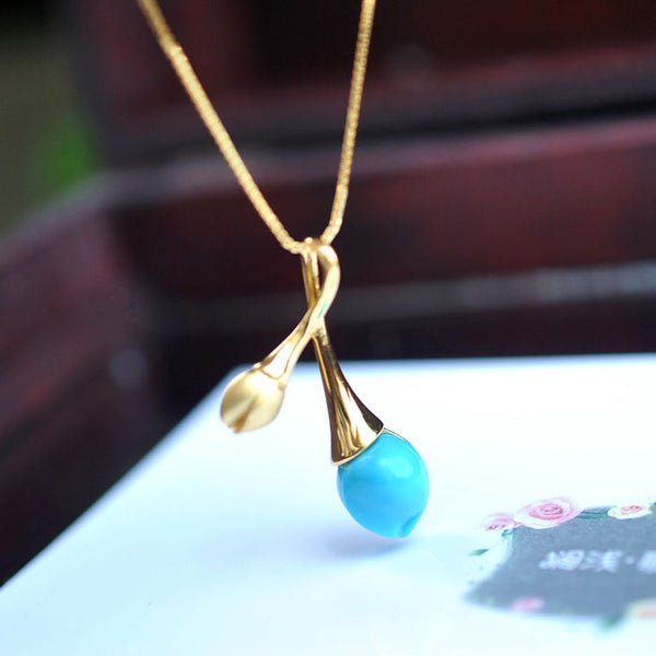 Turquoise Pendant Necklace in 18K Gold Plated Sterling Silver Gemstone Jewelry Accessories Women