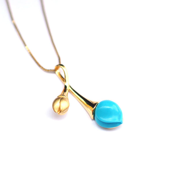 Turquoise Pendant Necklace Gold Silver Gemstone Jewelry Accessories Women