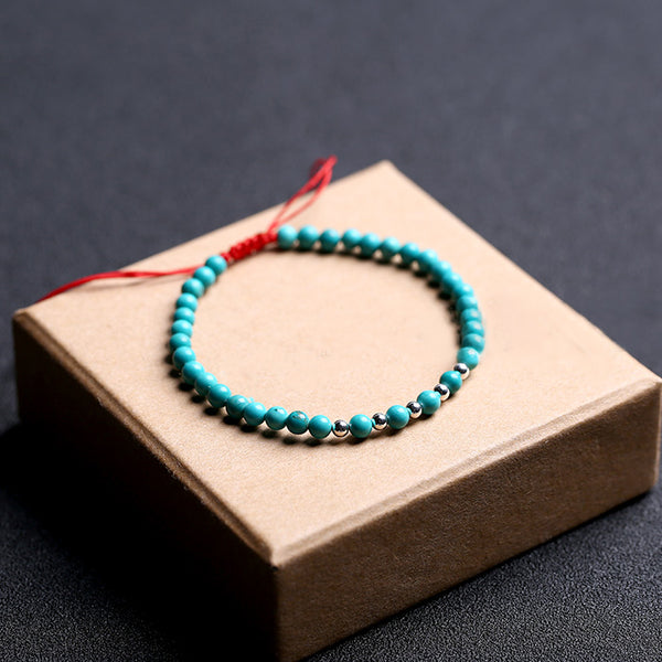 Turquoise Silver Bead Bracelet Handmade Couples Lovers Jewelry Accessories Women Men chic