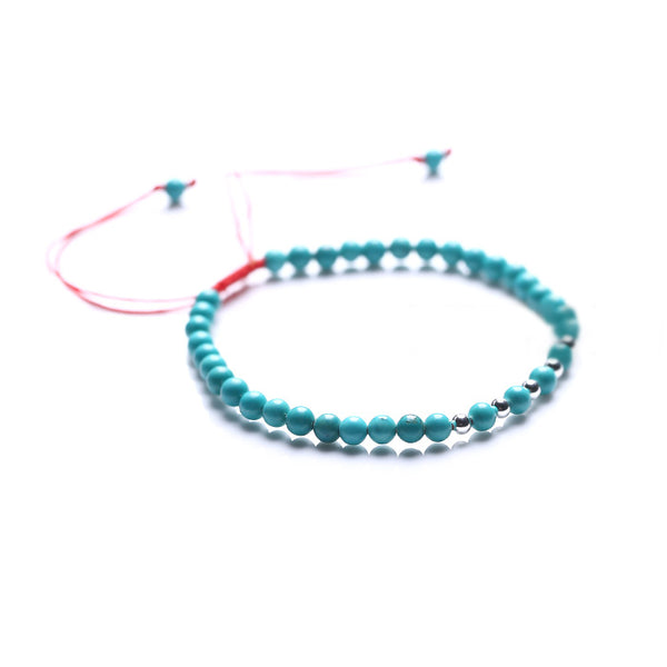 Turquoise Silver Bead Bracelet Handmade Couples Lovers Jewelry Accessories Women Men cool