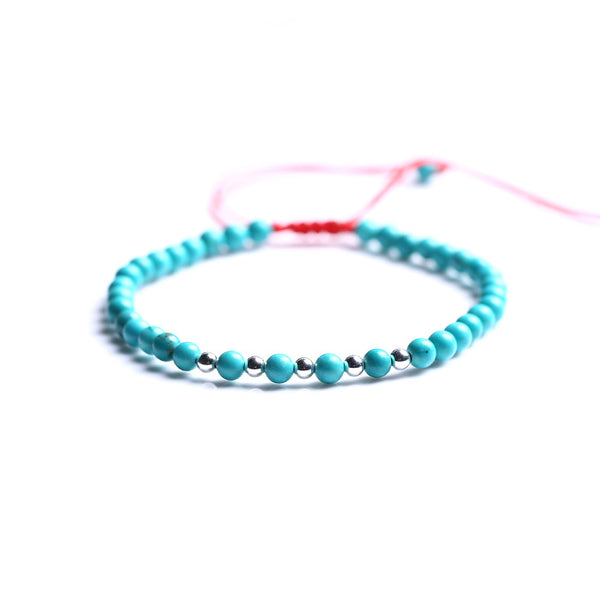 Turquoise Silver Bead Bracelet Handmade Couples Lovers Jewelry Accessories Women Men