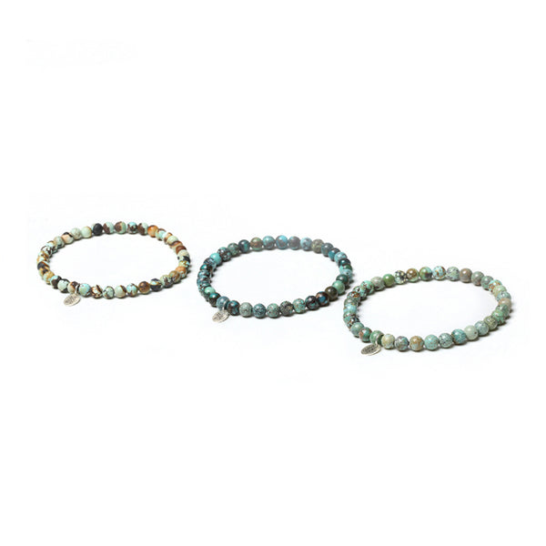 Turquoise Silver Bead Bracelet Handmade Couples jewelry Accessories Women Men adorable