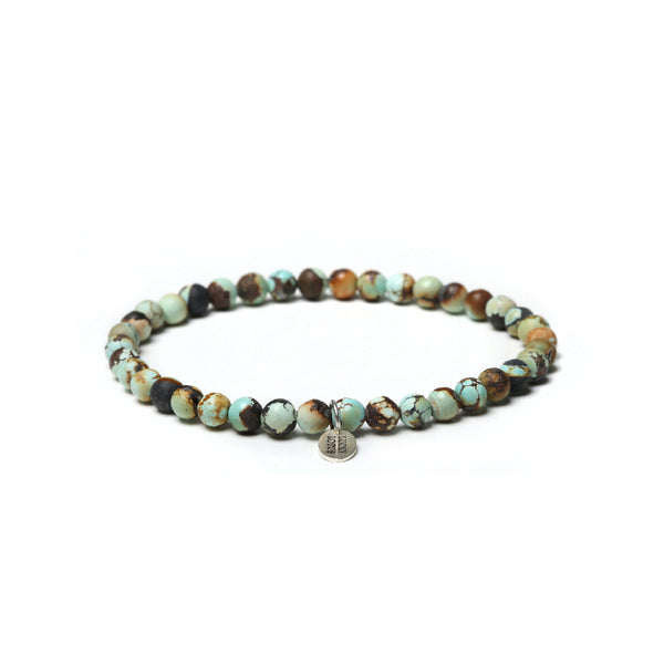 Turquoise Silver Bead Bracelet Handmade Gemstone Jewelry Accessories Women Men