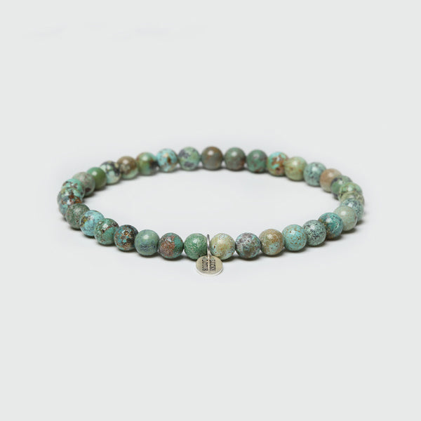 Turquoise Silver Bead Bracelet Handmade Couples jewelry Accessories Women Men gift