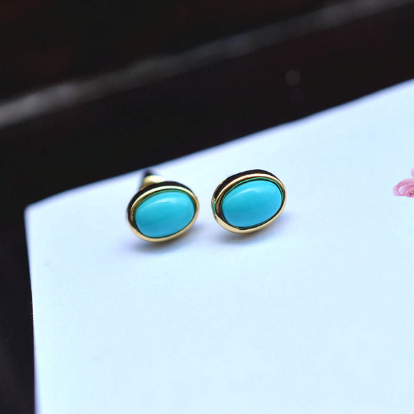 Turquoise Stud Earrings in 18K Gold Plated Sterling Silver Gemstone Jewelry Accessories Women