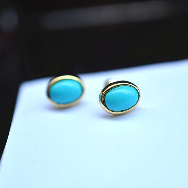 Turquoise Stud Earrings Gold Silver Gemstone Jewelry Accessories Women gift