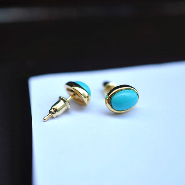 Turquoise Stud Earrings Gold Silver Gemstone Jewelry Accessories Women green