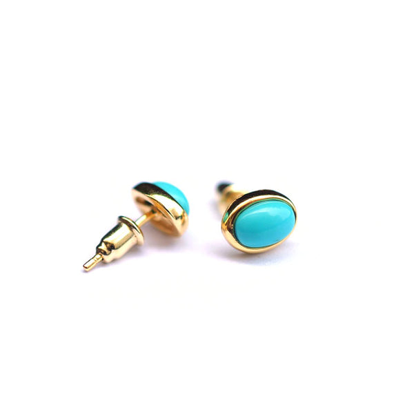 Turquoise Stud Earrings Gold Silver Gemstone Jewelry Accessories Women