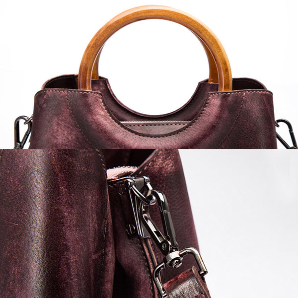 Unique Dyed Leather Womens Handbags Shoulder Bag Purses for Women Genuine Leather