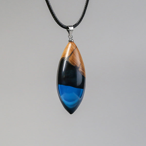 Unique Handmade Wood Resin Pendant Necklace Couple Jewelry Accessories Women Men