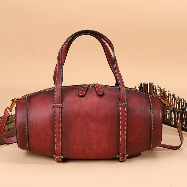 Unique Women Leather Handbags Shoulder Bag Barrel Bag Purses for Women