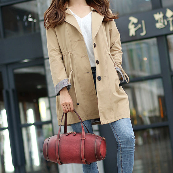 Unique Women Leather Handbags Shoulder Bag Barrel Bag Purses for Women Chic