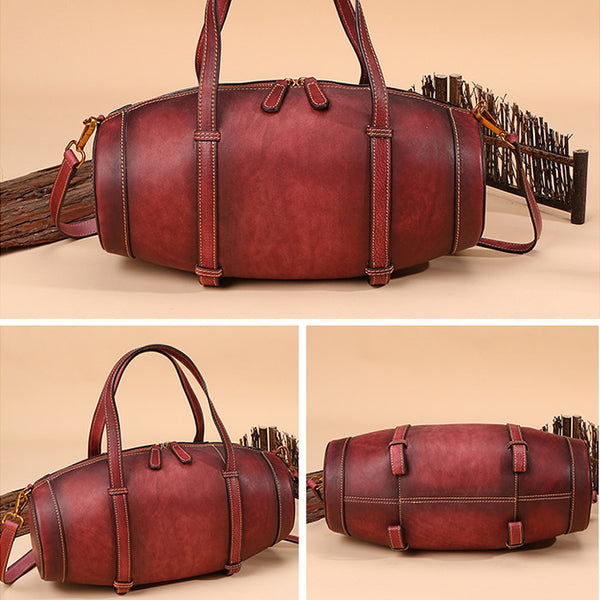 Unique Women Leather Handbags Shoulder Bag Barrel Bag Purses for Women Details