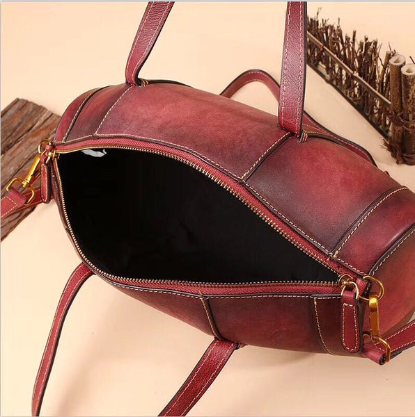 Unique Women Leather Handbags Shoulder Bag Barrel Bag Purses for Women Genuine Leather