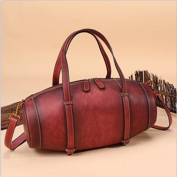 Unique Women Leather Handbags Shoulder Bag Barrel Bag Purses for Women Handmade