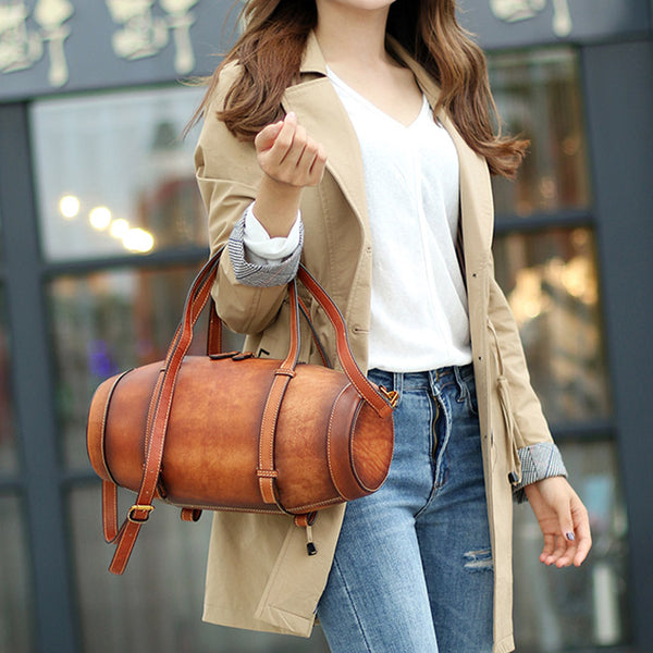 Unique Women Leather Handbags Shoulder Bag Barrel Bag Purses for Women beautiful