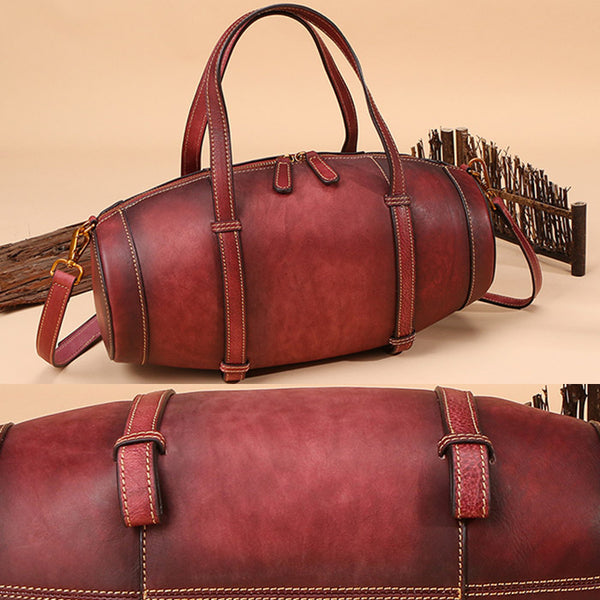 Unique Women Leather Handbags Shoulder Bag Barrel Bag Purses for Women cool