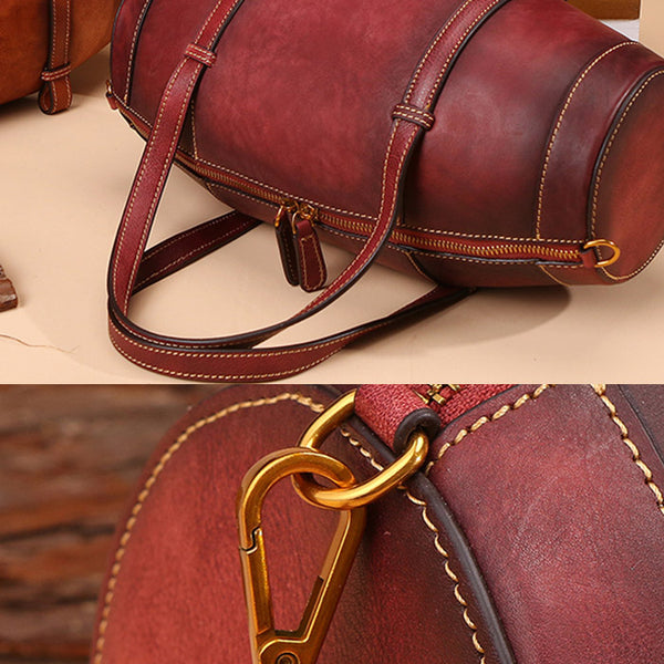 Unique Women Leather Handbags Shoulder Bag Barrel Bag Purses for Women cowhide