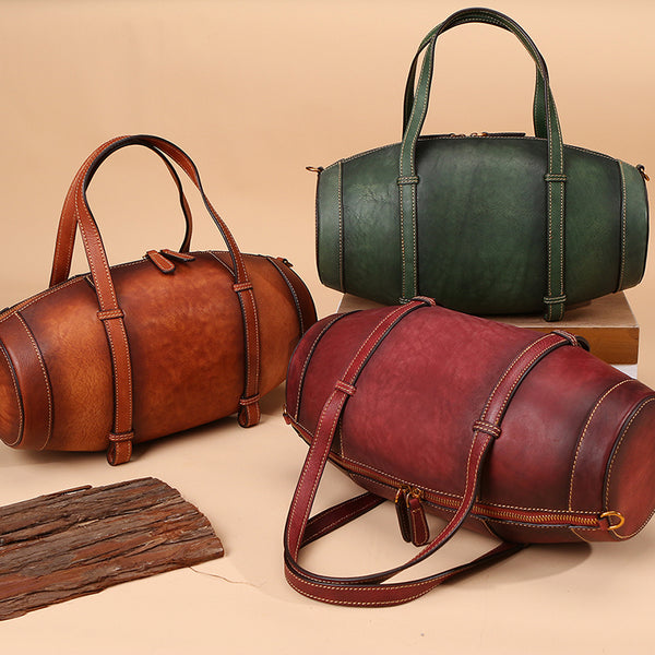 Unique Women Leather Handbags Shoulder Bag Barrel Bag Purses for Women fashion