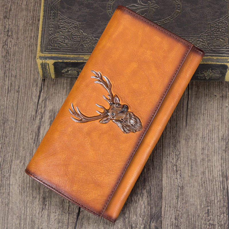 Unique Womens Genuine Leather Clutch Long Billfold Wallets for Women